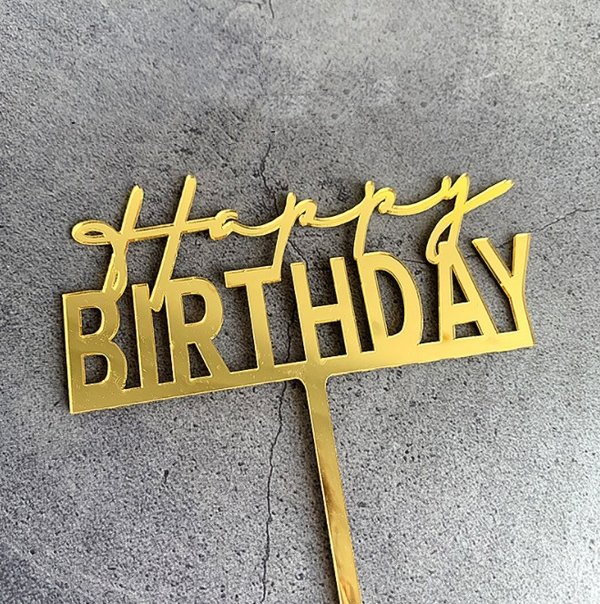 Taart Decoratie Happy Birthday Taarttopper Script Goud