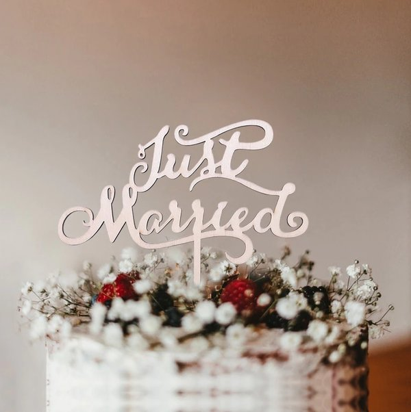 Taart Decoratie Bruiloft Taarttopper Just Married Hout