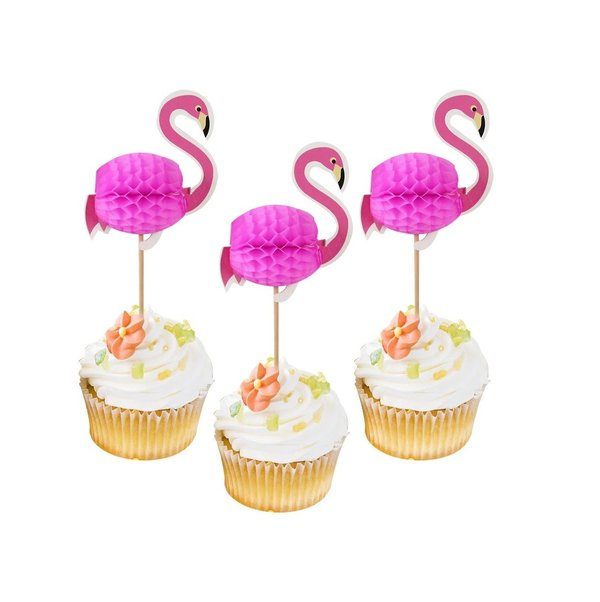 Cupcake Decoratie Flamingo Taarttopper Honeycomb 6 stuks